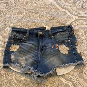 Denim, floral shorts